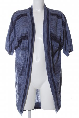 Zero Short Sleeve Knitted Jacket blue-black striped pattern casual look