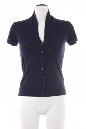 Zero Short Sleeve Knitted Jacket dark blue business style