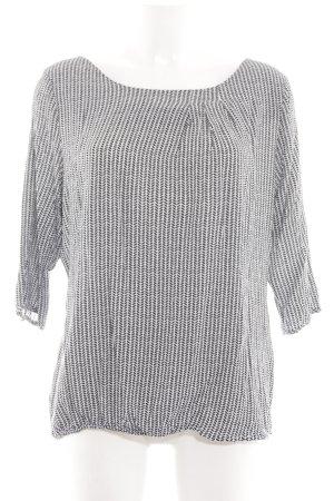 Zero Langarm-Bluse schwarz-weiß Allover-Druck schlichter Stil