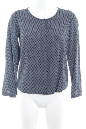 Zero Langarm-Bluse dunkelblau-weiß abstraktes Muster Casual-Look