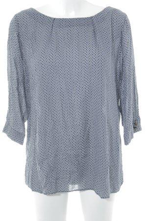 Zero Langarm-Bluse dunkelblau-weiß grafisches Muster Business-Look