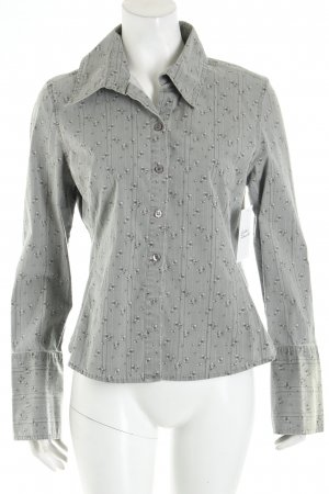 Zero Langarm-Bluse grau-hellgrau Blumenmuster Casual-Look