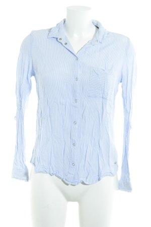 Zero Langarm-Bluse stahlblau-weiß Streifenmuster klassischer Stil
