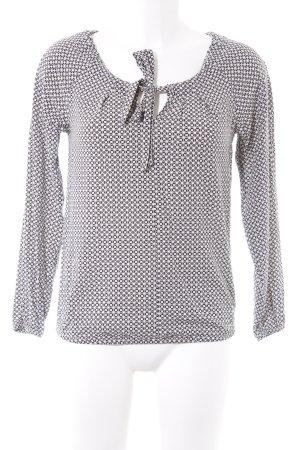 Zero Langarm-Bluse wollweiß-schwarz abstraktes Muster Business-Look
