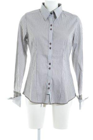 Zero Langarmhemd dunkelbraun-weiß Streifenmuster Casual-Look