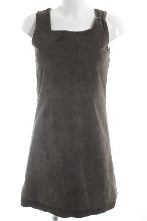 Zero Leren jurk donkerbruin casual uitstraling