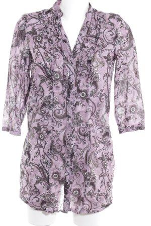 Zero Long-Bluse blasslila-schwarz florales Muster Casual-Look
