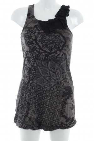 Zero Top largo negro-marrón grisáceo estampado con diseño abstracto