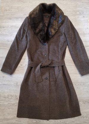 Zero Mantel Wollmantel Mohair Wolle Gr 38-40 braun Neupreis 189€