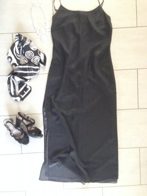 Zero Maxikleid 2Layer grau-schwarz Gr 40 fließend lang Georgette #evening