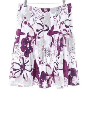 Zero Midirock weiß-lila florales Muster Casual-Look