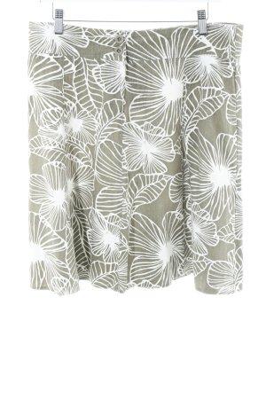 Zero Minirock weiß-khaki florales Muster Beach-Look