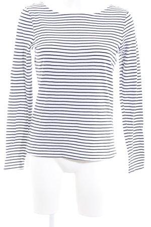 Zero Rundhalspullover weiß-schwarz Streifenmuster Casual-Look