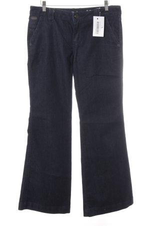 Zero Broek met wijd uitlopende pijpen donkerblauw Jaren 70 stijl