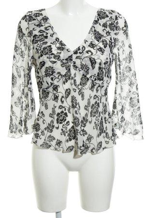 Zero Slip-over Blouse oatmeal-black floral pattern elegant