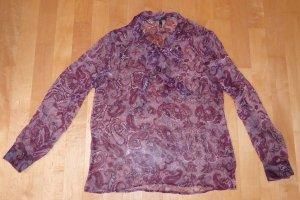 Zero Seiden Bluse Paisley-Print Altrosa Bordeaux 40 Neu