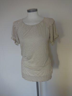 Zero Camiseta beige-beige claro tejido mezclado