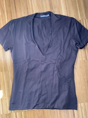 Zero V-hals shirt donkerbruin