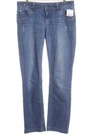 Zero Straight-Leg Jeans stahlblau Used-Optik
