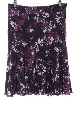 Zero Stretch rok braambesrood-zwart bloemen patroon romantische stijl