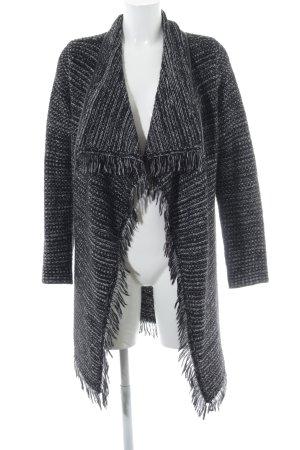 Zero Manteau en tricot noir-blanc Motif de tissage molletonné