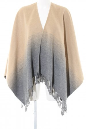 Zero Knitted Poncho cream-light grey color gradient casual look