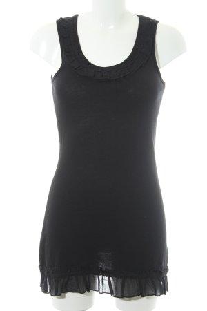 Zero Vestido de tela de sudadera negro Adornos bordados