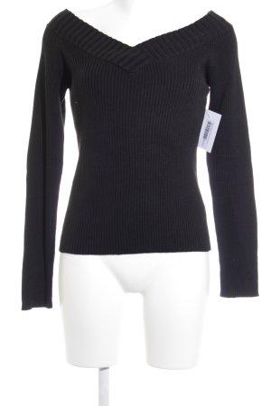 Zero V-Ausschnitt-Pullover schwarz Casual-Look