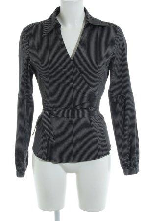 Zero Wickel-Bluse schwarz-silberfarben Streifenmuster extravaganter Stil