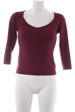 Zero Maglione di lana bordeaux stile casual