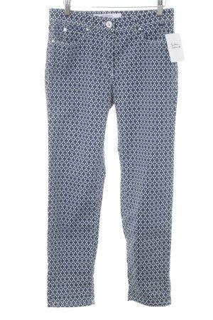 Zerres Hüftjeans weiß-blau abstraktes Muster Casual-Look