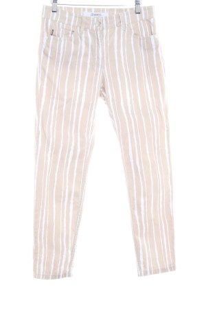 Zerres Straight-Leg Jeans sandbraun-wollweiß Streifenmuster Casual-Look