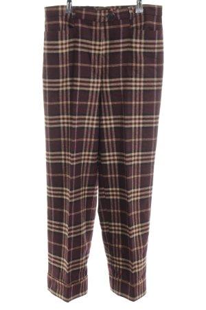 Zerres Pantalon en laine brun-crème motif à carreaux style classique