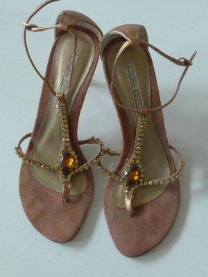 Zierliche Glitzer - Sandalen Buffalo Gr. 39 - bronze, edel