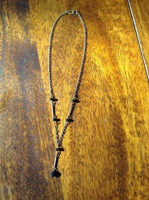 Zierliche Halskette braun/schwarz
