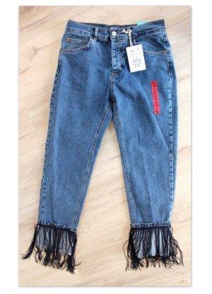 Zigarette Jeans mit Fransen - Gr. 38