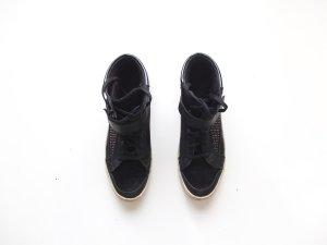 Zign High Top Sneaker Gr. 39 schwarz Leder Wildleder Nieten