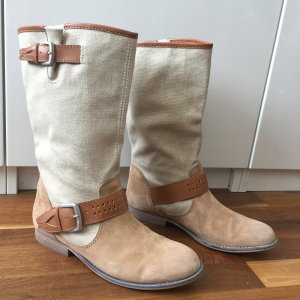 Zign - Sommerstiefel/ Biker Boots - Leder /Textil - trendies Karofutter - wie neu