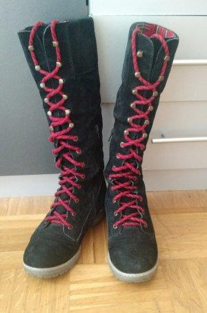 Zign Stiefel Gr. 38 Schnürstiefel schwarz mit rot herbst winter wildleder