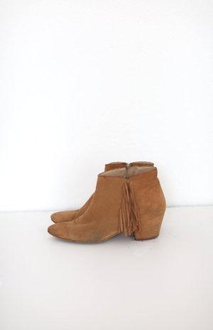 Zign Western Boots Leder Wildleder Cognac Gr. 38 Ankle Booties