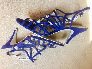 Sandalias de tacón de tiras azul aciano