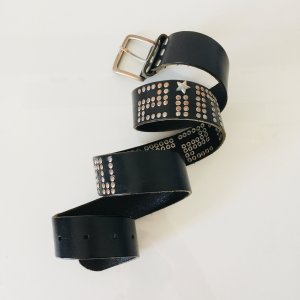 Zimtstern Gürtel aus schwarzem Leder 95