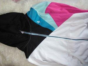 Zip-Hoodie Volcom S in türkis, rosa, weiß und schwarz