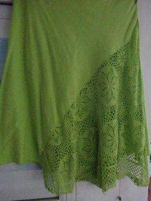 Falda asimétrica verde Algodón