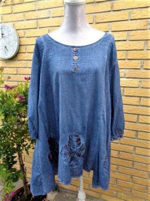 Babydoll-jurk leigrijs-lichtblauw Textielvezel
