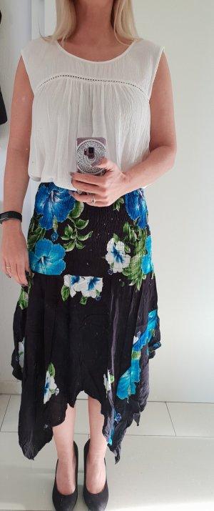Zipfelkleid, Zipfelrock schwarz mit Blumen