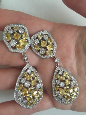 Silver Earrings silver-colored-yellow