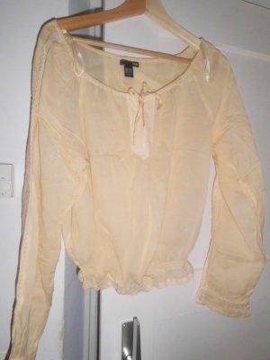 zitronengelbe Bluse mit Stickerei