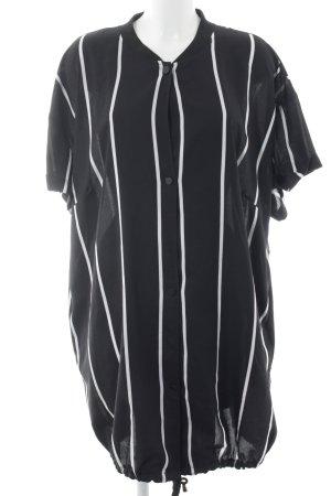 Zizzi Blusenkleid schwarz-weiß Streifenmuster Casual-Look