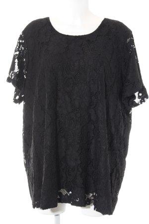 Zizzi Kurzarm-Bluse schwarz schlichter Stil